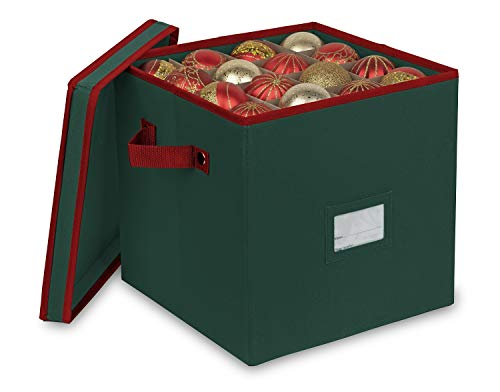 Primode Christmas Ornament Storage Box with 4 Trays, Holds Up to 64 Ornaments Decoration Balls, Holiday Storage Container with Dividers, Constructed of Durable 600D Oxford Material (Green)