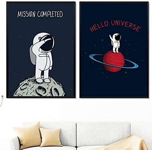 XMYC Pop artMoon Planet Astronaut Universe Nordic Poster Cartoon Art Print Nursery Kids Room Bedroom Decor2 Pezzi 50x70cm Senza Cornice