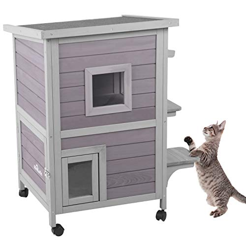 Aivituvin 2-Story Outdoor Cat House Indoor Wooden Kitty Condo with Escape Door - 4 Casters Included