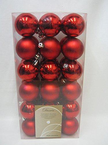 New Decoris Shatterproof Christmas Tree Baubles 60mm Red 361687 PK36