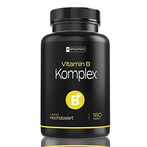 Vitamin B Komplex Kapseln - Alle 8 B-Vitamine Hochdosiert - Mit 500 µg Vitamin B12 pro Tagesdosis - Vitamine B1, B2, B3, B5, B6, B12-180 vegane Tabletten
