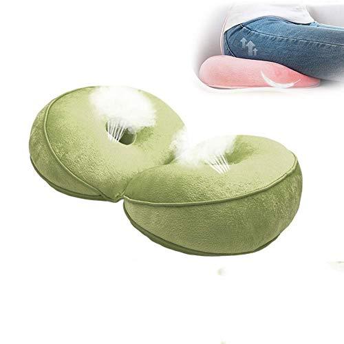 KEKEDA Dual Comfort kussen stoel Latex stoel kussen Comfy ondersteuning kussen voor onderrug Tailbone en ischias reliëf in autostoel, thuis, kantoor Foam Groen