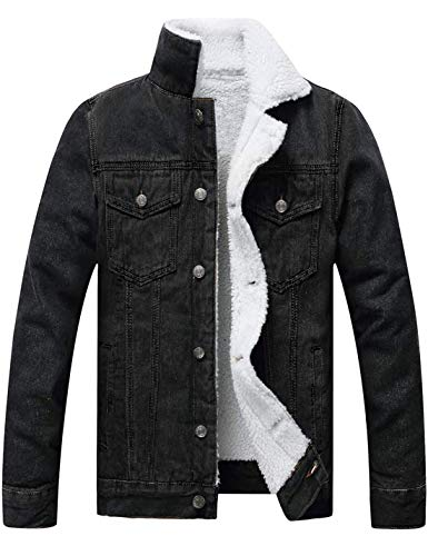 Omoone Men's Faux Fur Collar Sherpa Fleece Lined Distressed Denim Trucker Jacket (03 Black, M)
