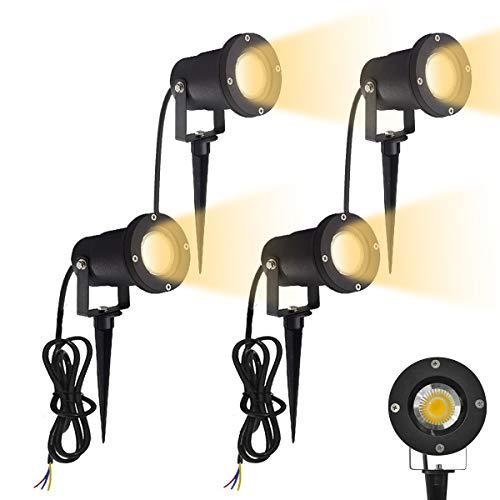 Aufun GU10 Gartenstrahler 3W LED Gartenleuchte mit Erdspieß, Rasen Licht Warmweiß, Wasserdicht IP65 für Außenbereich Garten Teich Landschaft, ohne Schukostecker, 4 Stück