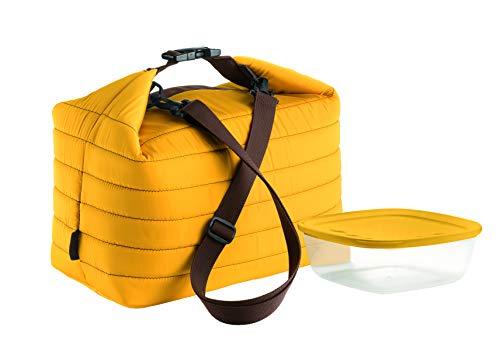 Guzzini Borsa Termica Grande con Tracolla On The Go, Ocra, Borsa 30 x 18 x h30 cm, Contenitore 19.6 x 19.6 x h7 cm, 1400 cc