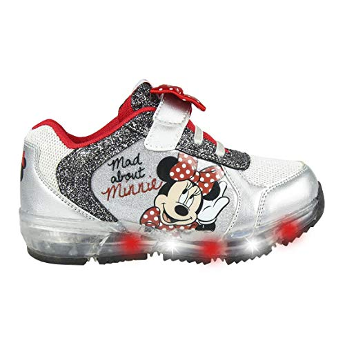 CERDÁ LIFE'S LITTLE MOMENTS Cerdá-Zapatilla con Luces Minnie Mouse de Color Plateado, Niñas, 25 EU