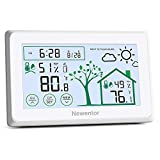 Newentor Indoor Outdoor Thermometer Wireless Temperature and Humidity Gauge Monitor Digital Hygrometer Weather Station with Calendar for Home Patio
