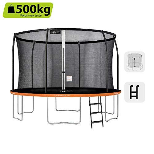 GREADEN - Trampolino da Giardino Freestyle Orange 430 Completo di Rete Cuscino di Protezione + Scala Ø 427 cm, Ultra Sicuro