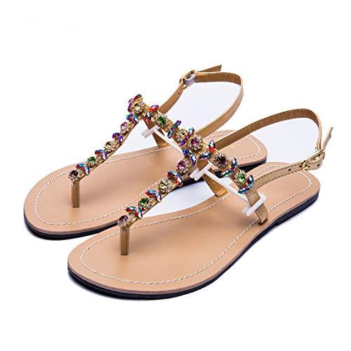 Mujeres Bohemia T Correa Poste Thongs Verano Diamond Sandalias Rhinestone Zapatos de Playa Planos cómodo Clip Toe Tira Tobillo Flip Flops