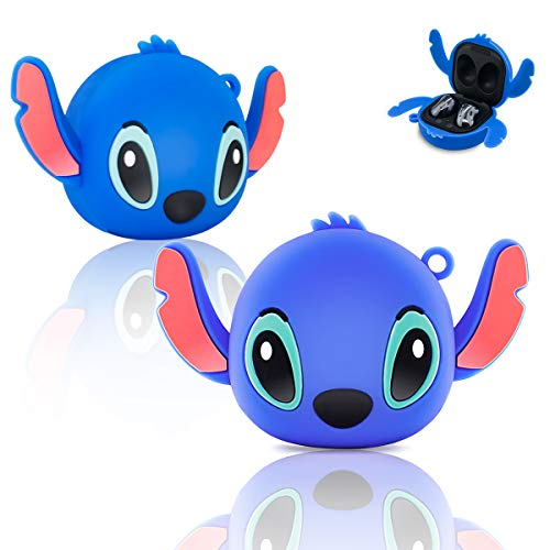for Galaxy Buds Live Case Cover (2020), TOLUOHU Cute 3D Cartoon Anime Character Cool Stylish (Shockproof & Waterproof) Protective case for Wireless Charging Earbuds-Ear Blue Stitch
