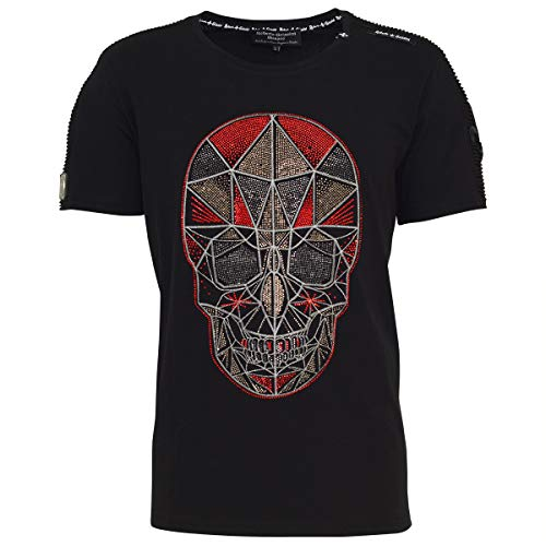 Roberto Geissini Unisex Skull RED Pyramide Black M