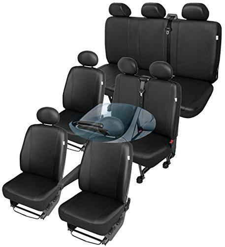 ZentimeX Z751702 Sitzbezüge SET Fahrersitz / Einzelsitz Armlehne rechts + Beifahrersitz / Einzelsitz ohne Armlehnen + Doppelbank / Zweierbank + Einzelsitz ohne Armlehnen + Dreierbank Kunstleder schwarz