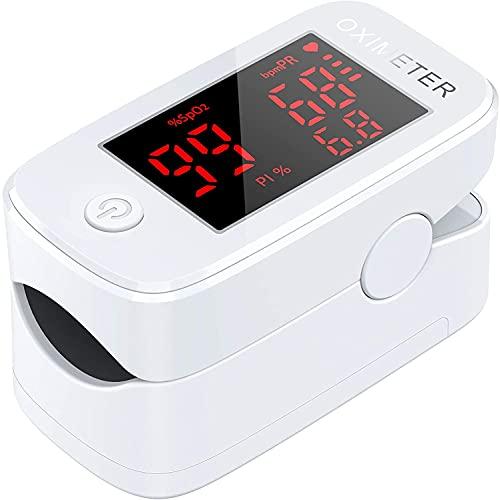 Saturimetro Da Dito, Pulsossimetro Professionale con Allarme Ideale 1.5'' LED Display ,Letture Immediate Ossimetro per Saturazione di Ossigeno(SpO2), Frequenza Del Polso(PR), per Adulti e Bambini