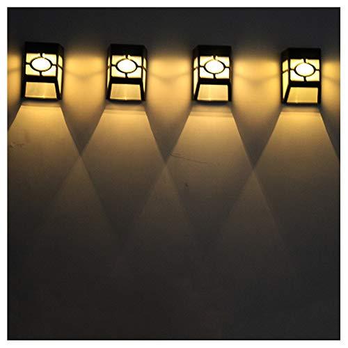 Luz solar para faroles de pared, lámpara de exterior de 2LED impermeable para jardín, cerca, patio, terraza, patio (paquete de 4),WarmLight