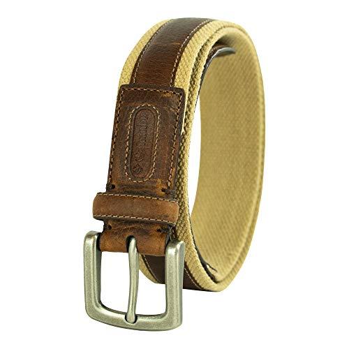 Columbia Men's Classic Belt-Work Business Casual with Stitch Design, Khaki, 36