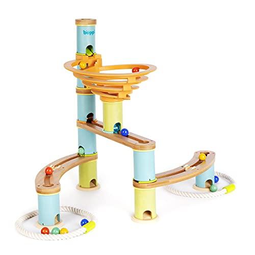 Circuito laberíntico boppi para canicas de bambú ecológico para niños, de 48 Piezas con 12 canicas. Juguete científico de construcción para niños y niñas a Partir de 3 años - Pack de Inicio