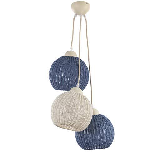 ONLI hanglamp 3 lampen, crème/blauw