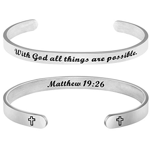 Religious Jewelry Christian Bracelet Cross Bangle Cancer Awareness Gift With God all Things are Possible