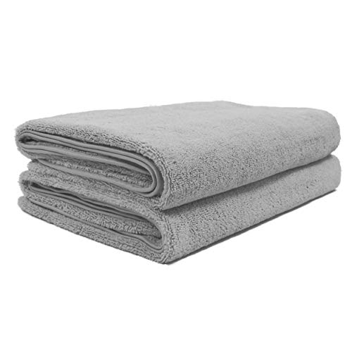 Polyte Quick Dry Lint Free Microfiber Bath Sheet, Pack of 2 (Gray, 35x70)
