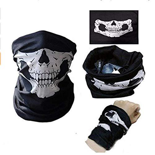 2x Premium Multifunktionstuch Totenkopf   Sturmmaske   Bandana   Schlauchtuch   Halstuch mit Skelettmasken für Motorrad Fahrrad Ski Paintball Gamer Karneval Kostüm Skull Maske