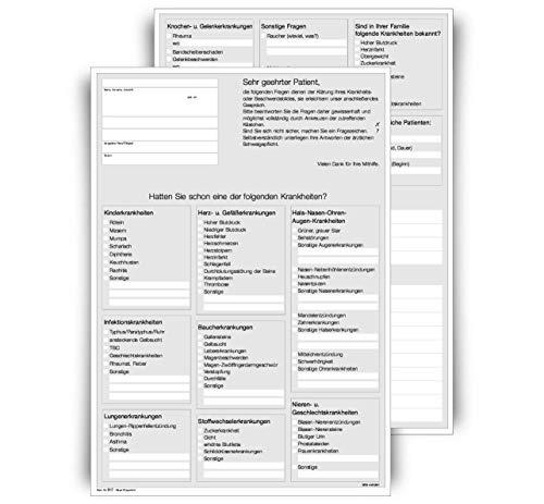 Anamnesebogen für Ärzte und Heilpraktiker, DIN A4 Hochformat, 2-seitig, weiß, 500 Blatt
