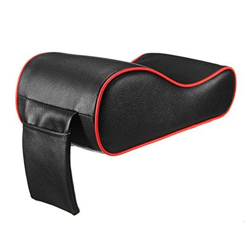 WINOMO Coussin universel pour console centrale de voiture - En cuir souple - Bords noirs et rouges