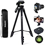Endurax 60'' Camera Phone Tripod Stand for Canon Nikon DSLR with Universal Phone Holder, Bubble Level and Carry Bag