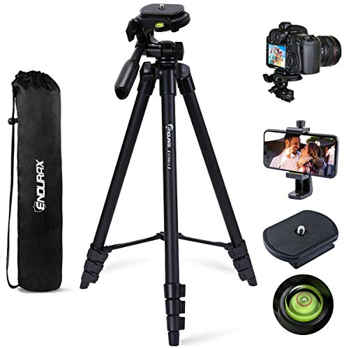 Endurax 60'' Camera Phone Tripod Stand for Canon Nikon DSLR with Universal Phone Adapter, Bubble Level and Carry Bag