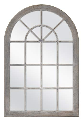 MCS Countryside Arched Windowpane Wall, Gray, 24x36 Inch Overall Size Mirror,
