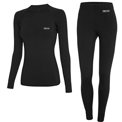 Norde WARM LINE Damen Funktionswäsche Thermoaktiv Atmungsaktiv Base Layer Set Outdoor Radsport Running (Schwarz, XL)