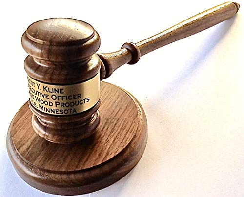 Gavel Engraved with Round Block - Solid Walnut - Made in USA