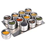 Upgrade Magnetic Spice Jars 12pcs with Wall Mounted,Stainless Steel Spice Tins with Lid
