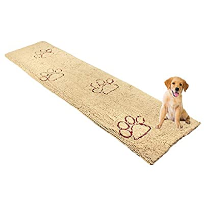My Doggy Place - Ultra Absorbent Microfiber Dog Door Mat, Durable, Quick Drying, Washable, Prevent Mud Dirt, Keep Your House Clean (Oatmeal w/Paw Print, Hallway Runner) - 8' x 2' Feet