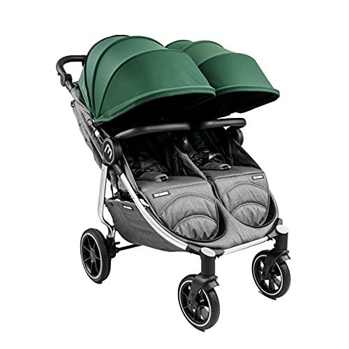 Baby Monsters Carrito gemelar + Capotas Easy Twin 4 (Forest) - Silla de paseo gemelar plegable ultraligera