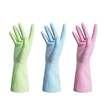 Dishwashing Rubber Gloves for Cleaning – Household Gloves Non Latex 3Pairs Large