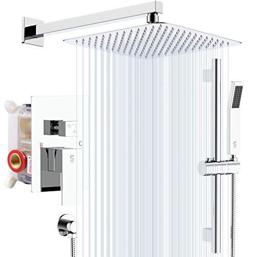 New SR SUN RISE 12 Inches Shower System with Adjustable Angle Slide Bar, Brass Pressure Balancing Sh...