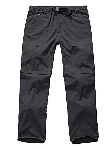 Men's Hiking Convertible Quick Dry Outdoor Lightweight Hiking Outdoor Fishing Zip Off Cargo Work Pants Trousers #6062 Grey-38