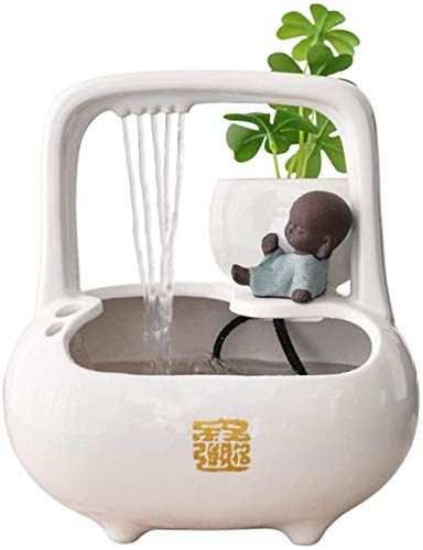 A-Generic Desktop Waterfalls Ceramic Indoor Table-Top Water Fountain Home Office Zen Decoration Fountain Electric Pump Soothing Calming-White