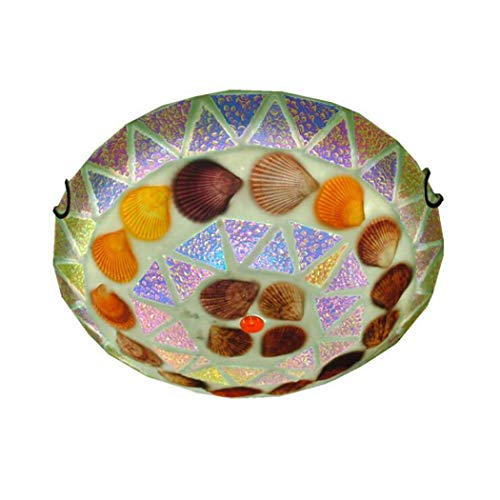 GJX plafondlamp, LED, plafondlamp, Tiffany-stijl, glas, middeleeuws, balkon, entree, decoratieve plafondlamp, 30 cm