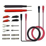 Senven 16 pcs profesional Kit prueba cables prueba electrónicos multímetro multifunción Accesorios, herramienta sonda silicona, cabeza de banana, para pruebas de laboratorio, pruebas eléctricas