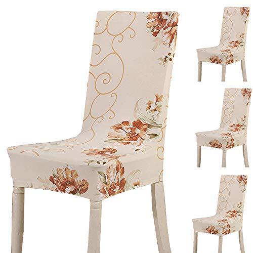 Teerfu, Fodera per sedia, 4 pezzi,protezione elasticizzata rimovibile, in spandex, fodera per sedie ultra aderente, ideale per hotel e cerimonie nuziali, lavabile Color 15