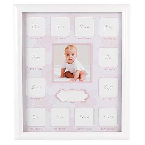 """GARNECK Marco para fotos de primer año de 12 meses con texto en inglés """"Baby Keepsake"""" para fotos en espera, regalo de Navidad rosa"""