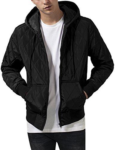 Urban Classics Hooded Big Diamond Quilt Jacket Giacca, Nero (Black 7), XXL Uomo