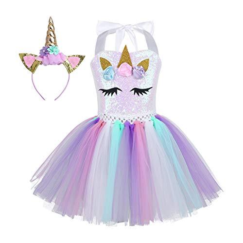 iEFiEL Einhorn Kostüm für Kinder - komplettes Prinzessin Kostüm Set für Mädchen Kleid mit Blumen Haarreif Zu Karneval Cosplay Fasching (92-98, Bunt mit Pailletten)