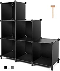 Large Storage Space: It contains 6 cubes modular shelving, each size of the cube is 11.8x 11.8x11.8 inch, providing large space to store shoes, toys, clothing and handbags, etc. Please note: it fits storage bin that is smaller than 11.5*11.5 inch Mul...
