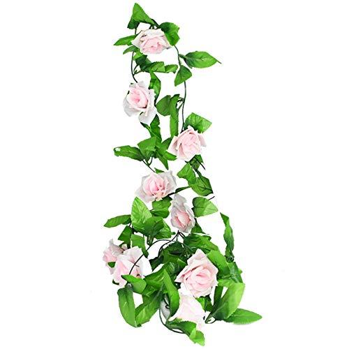 LQCHH 2.4m Rosas Artificiales de Seda Flores Rattan String Vine con Hojas Verdes para la decoración del jardín de la Boda del hogar Colgando la Pared de la Guirnalda (Color : White Pink)