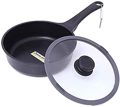 Bolso picnic olla ollas ollas panorámica forjada aluminio antiadherente wok, freidor seco saludable, cocina universal universal universal, sartén antiadherente colección de mármol, 25 cm