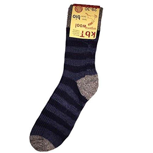 Hirsch Natur, Ringel Socken, 100% Wolle (kbT) (38/39, Grau/Marine/Jeans)