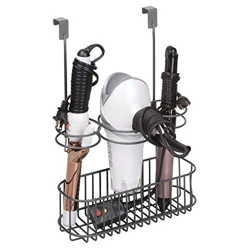 mDesign Colgador de puertas para secador y plancha de cabell