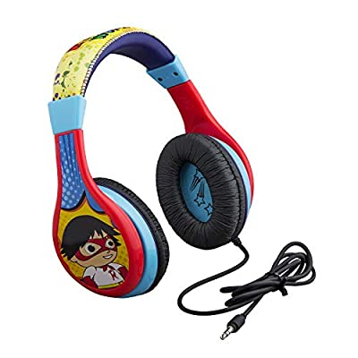Ryans World Kids Headphones, Adjustable Headband, Stereo Sound, 3.5Mm Jack, Wired Headphones for Kids, Tangle-Free, Volume Control, Foldable, Childrens Headphones Over Ear for School Home, Travel from The Qwirky Shop